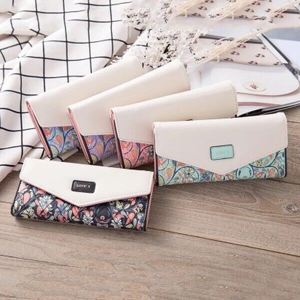 New Ladies Women Leather Envelope Clutch Wallet Long Card Holder Purse Handbag Clothing, Shoes & Accessories
