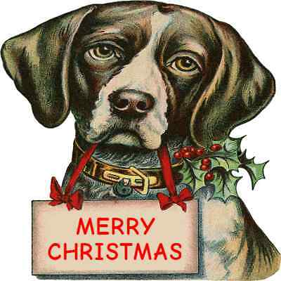 30 Custom Vintage Merry Christmas Dog Personalized Address Labels
