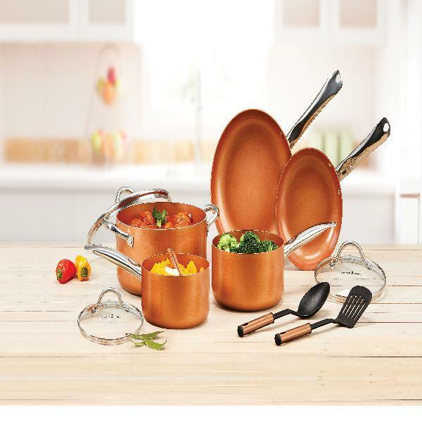 Copper Chef NonStick Coating Cookware Pot and Pan + Lid Set Cooking Set 10 Piece