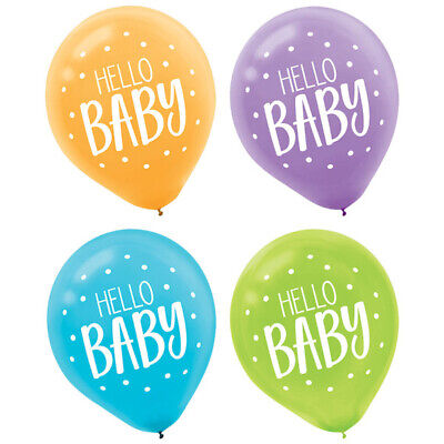 Helium Balloon Cost (FISHER PRICE Hello Baby LATEX BALLOONS (15) ~ Shower Party Supplies Helium)