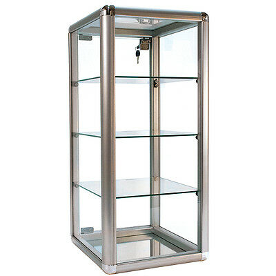 New Aluminum Frame - Silver Finish Countertop Showcase - 14lx12wx27h