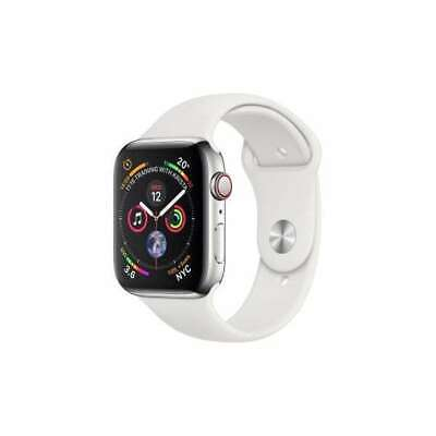 Apple Watch Series 4 44 mm Silver Aluminum Case with Cream Sport Band (GPS +...