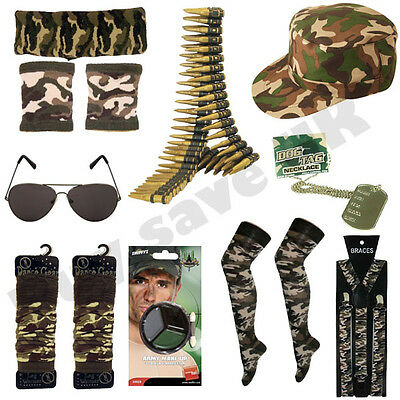 ARMY MILITARY FANCY DRESS COSTUME ACCESSORIES MENS LADIES HEN STAG NIGHT - Army Costume Accessories