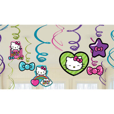 Hello Kitty Swirl Decoration Birthday Party Supplies Dangler Pack of 12