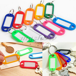 50 x Coloured Plastic Key Fobs Luggage ID Tags Labels Keyrings With Name Cards