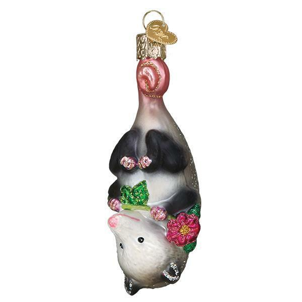 BLOSSOM OPOSSUM OLD WORLD CHRISTMAS GLASS NOCTURNAL ANIMAL ORNAMENT NWT 12569