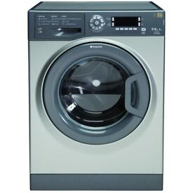 Ex-Lease Hotpoint WDUD9640G Washer Dryer, 9kg Load, 1400 RPM Spin, A Energy Rating -silver
