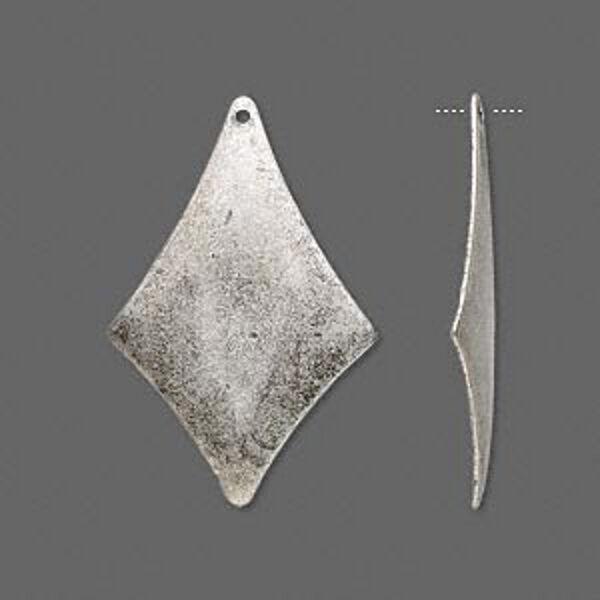Silver Diamond Drops 30mm Steampunk Style Dangle Finding Jewelry Lot of 20