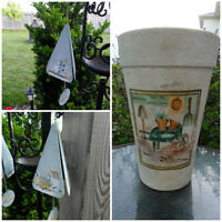 Tall Clay Planter with Graphics & 2 Wind Chimes