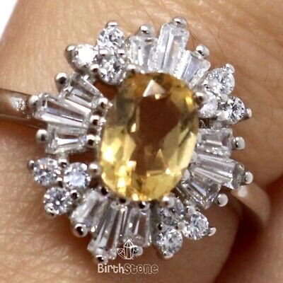 1Ct Oval Genuine Citrine Halo Art Deco Ring Women Jewelry 14K White Gold Plated