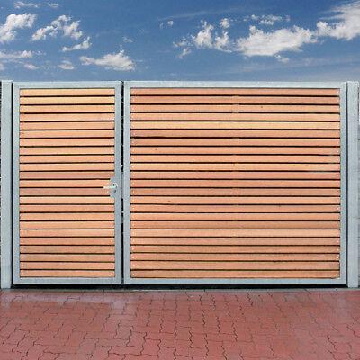 Einfahrtstor 300 x 180cm 2 Flügel Asymmetrisch Verzinkt + Holz Tor Gartentor NEU