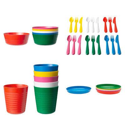 New Colour Range IKEA 36 Pcs Kalas Kids Plastic BPA Free Flatware, Bowl, Plate,  d'occasion  Expédié en Belgium