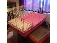 Pink indoor rabbit Guinea pig cage hutch house