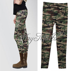 Women's Sexy Camo Camouflage Stretch Trousers Army Green Tights Pants N