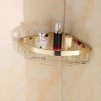 Luxury Gold Shower Caddy Shelf Bathroom Corner Rack Storage Basket Soap Holder