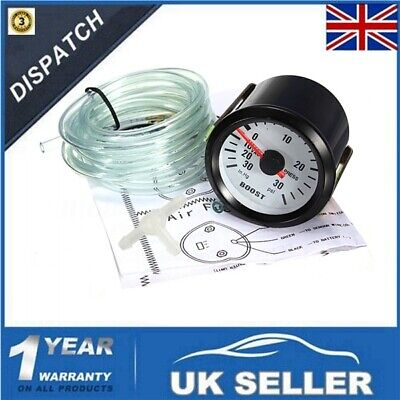 52mm 30PSI Pressure Vacuum Turbo Boost Pointer Dials Gauge Meter Light