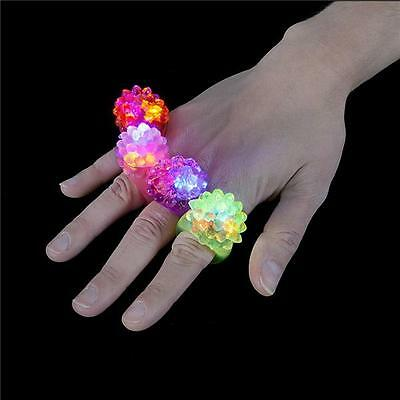 WHOLESALE 100 LED FLASHING COLOR LIGHT UP BUMPY RINGS RAVES PARTY JELLY - Led Rings Wholesale