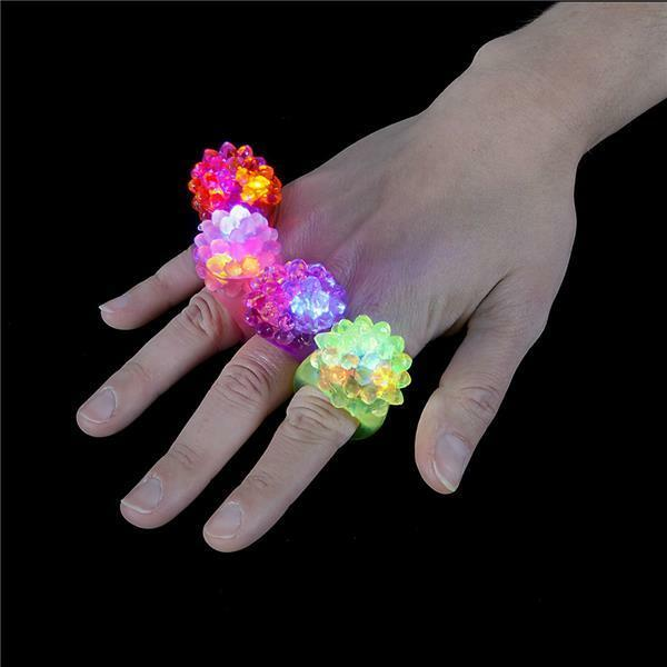WHOLESALE 100 LED FLASHING COLOR LIGHT UP BUMPY RINGS RAVES PARTY JELLY RING