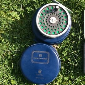 Vintage Hardy Marquis #7 reel and 2 Wheatley Silmalloy Fly Boxes.