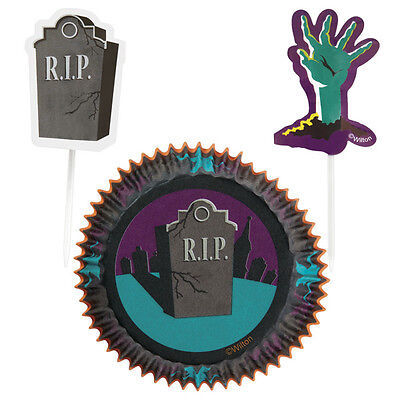 Wilton Halloween in 3D RIP Party Cupcake Baking Liner and Toothpick Combo Pack  - Wilton Halloween Cupcake Combo Pack