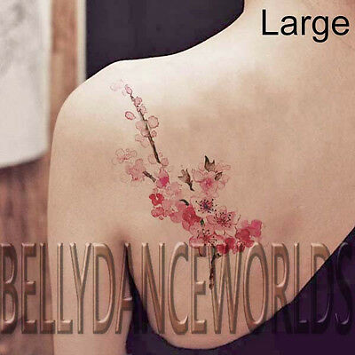(SMALL OR LARGE PINK WATERCOLOR CHERRY BLOSSOM BRANCH TEMPORARY TATTOO STICKER)