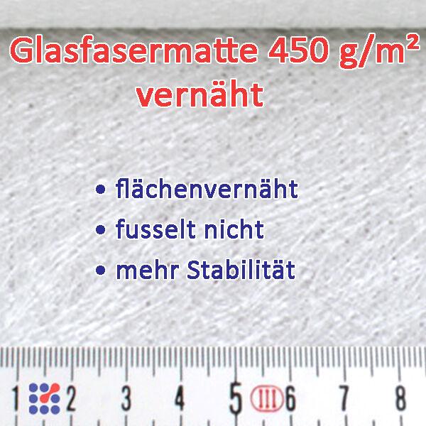 GLASMATTE, GLASVLIES, GLASFASERMATTE F. POLYESTERHARZ  EPOXIDHARZ POLYESTERVLIES Matte vernäht 450 g/m²