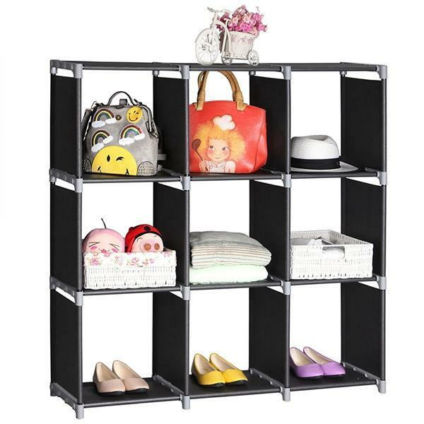 3 Tiers 9 Compartments Cube Storage Shelf Cabinet Organizer Stand Display Unit