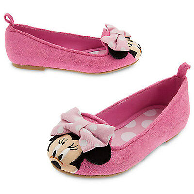 NWT Disney Store Minnie Mouse Pink Dress shoes Flats SZ 9,10,12 Girls