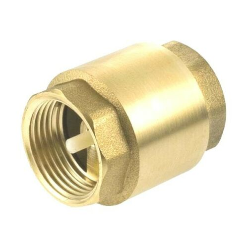"""1"""" Inch NPT Pipe Female Thread Brass Spring Check Valve In-Line FPT One Way"""