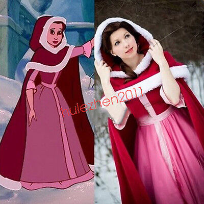 Beauty and The Beast Belle Pink cosplay Custom Halloween costume Cloak + Dress