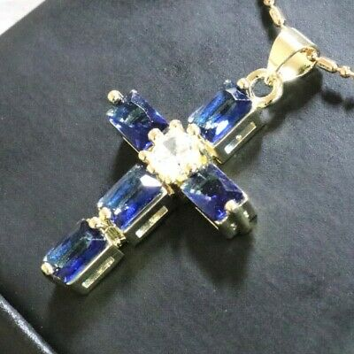 Gorgeous Blue Sapphire Cross Necklace Women Engagement Jewelry 14K Gold Plated Blue Sapphire Gold Cross