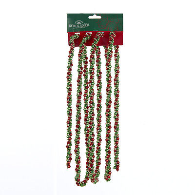 KURT S. ADLER 9' RED GREEN GOLD TWISTED BEAD CHRISTMAS TREE GARLAND DECORATION