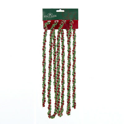 KURT S. ADLER 9' RED GREEN GOLD TWISTED BEAD CHRISTMAS TREE GARLAND DECORATION