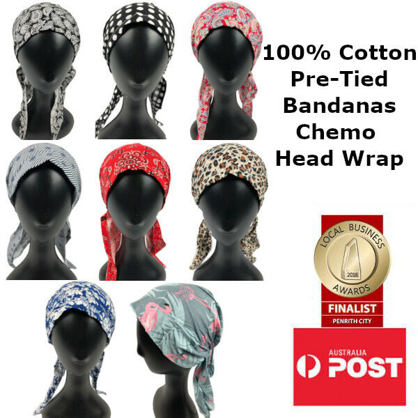 100% Cotton Pre-Tied Chemo Head Wrap Bandanas Hair Loss Head