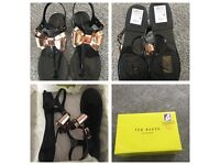 Brand new in box ladies ted baker black and rose gold sandals size 7