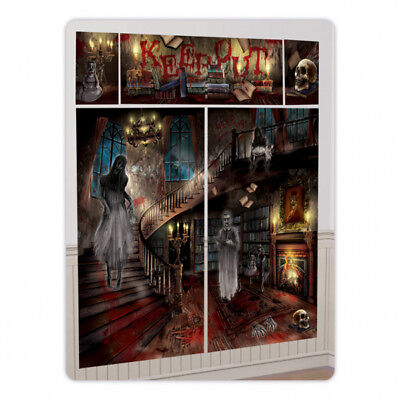 Gothc Halloween Party Scene Setter Haunted House Mansion Wall Decoration kit