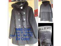 M&S Black Jacket / Coat - Excellent Condition