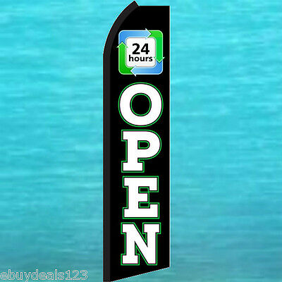 Open 24 Hours Swooper Flag Tall Flutter Feather Vertical Advertising Sign Banner