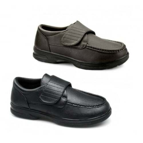 Mens Dr Keller Texas Black Leather Wide Fit Touch Fasten Comfort Casual Shoes