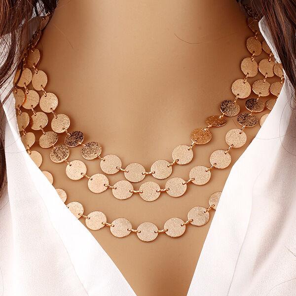 $3.67 - Fashion Women Jewelry Pendant Crystal Choker Chunky Statement Chain Bib Necklace