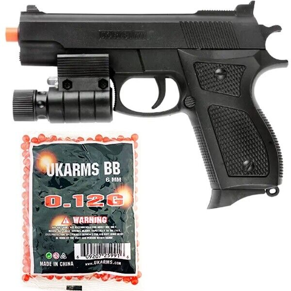 AIRSOFT TACTICAL SPRING PISTOL HAND GUN w/ 1000 BBs LASER FLASHLIGHT 6mm BB