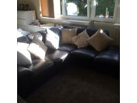 Real brown leather corner sofa