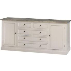 MUSHROOM GREY SIDEBOARD with TIMBER TOP