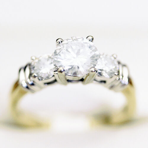 Amazing Engagement ring, Past Present Future Diamond engagement ring, 1.66ct Dia