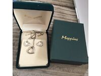 Mappins sterling silver and diamond heart earrings and necklace set