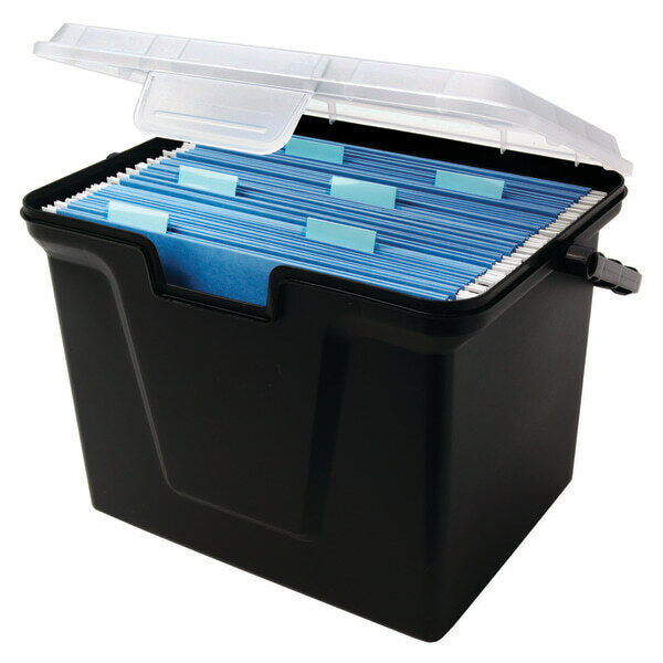 "Office Depot Portable File Box, 10 11/16"" x 14 11/16"" x 10 3/8"""