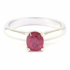 14k White Gold Ruby Solitaire Ring (0.83 ct) #3626