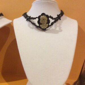 Vintage and modern black collar choker necklace