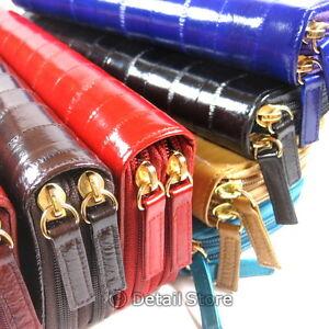 New-EEL-SKIN-Double-Zip-Around-Zipper-Checkbook-Large-Clutch-Bag-Wallet