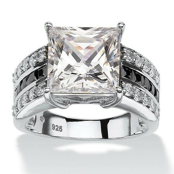 Fashion Silver Ring Women Jewelry Rings Size 6 7 8 9 Wedding Party CZ Sapphire Fashion Jewelry